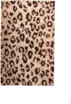 Gunstig Hoogpolig Vloerkleed met Luipaard Print -  120X170 cm  - Beige Bruin