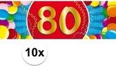 10x 80 Jaar leeftijd stickers 19 x 6 cm - 80 jaar verjaardag/jubileum versiering 10 stuks