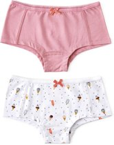 Little Label Meisjes Hipster (2 pack) - wit,grijs,oranje - Maat 110-116