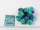 Chessex dobbelstenen set, 12 st. 6-zijdig, 16mm Gemini Blue-Teal w/gold
