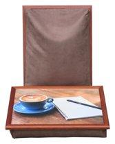 Margot Steel Laptray, Schootkussen, schoottafel, laptoptafel dienblad met kussen Koffiepauze - 41x31x10 cm