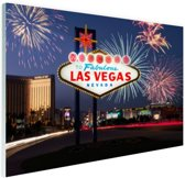 Las Vegas welkomsbord met vuurwerk Glas 120x80 cm - Foto print op Glas (Plexiglas wanddecoratie)