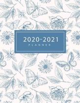 2020-2021 Planner: Weekly & Monthly 2 Year Calendar Schedule, Squares Quad Ruled, Dot Notes, Flowers Butterfly Botanicals, No Holiday (Ja