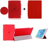 Apple iPad 2, 3, 4 Smart Cover met/inclusief Achterkant Back Cover Hoes Red/Rood Smartcover combinatie hoesje Companion Case Full Body   BetaalbareHoesjes.nl