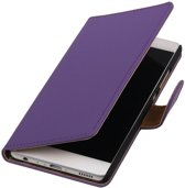 Paars Effen booktype wallet cover hoesje voor HTC One X