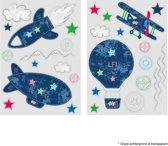 Lief! - Raamstickers - Vliegtuig - Blauw - 2 sheets van 17,5 x 25cm