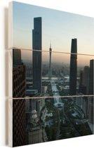 Zonnestralen over Guangzhou Vurenhout met planken 60x90 cm - Foto print op Hout (Wanddecoratie)