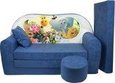 Kinder slaapbank set - logeermatras - sofa - 170 x 100 x 8 - slaapbank - navy blauw - Madagaskar