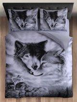 Cotton Club Dekbedovertrek Wolf Grijs -  1 Persoons - 140x200/220 cm + 1 kussensloop 60 x 70 cm