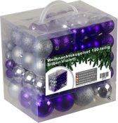 Kerstballen set - 120 ballen - Plastic / Kunststof - Zilver/Paars