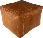 Vierkante leren poef - Cognac -  Handgemaakt en stijlvol - Gevuld geleverd