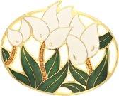 Behave®  Broche ovaal bloemen wit emaille