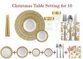 Deluxedisposables  -Luxe wegwerp eenmalig plastic tafel Serviesset voor 10 personen wit-goud + Decorative set : 20 servetten + 2 kaarsen 24 cm  GRATIS !