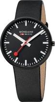 Mondaine Giant A660.30328.64SBB Horloge - Leer - Zwart - Ø42 mm