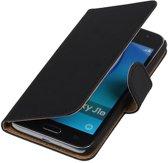 Zwart Effen booktype cover hoesje voor Samsung Galaxy J1 Nxt / J1 Mini