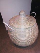 Wasmand wit / bol / decoratie mand / houten  mand