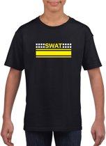 SWAT speciale eenheid logo zwart t-shirt voor jongens en meisjes - Politie verkleedkleding L (146-152)