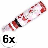 6x Confetti kanon hartjes en rozenblaadjes - confetti shooter / party popper