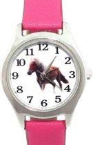 Horloge- Paard- Midden Roze- Leer bandje-26 mm- Gratis batterij