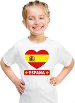 Spanje kinder t-shirt met Spaanse vlag in hart wit jongens en meisjes XS (110-116)