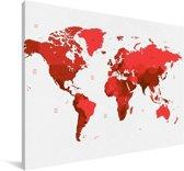Rode wereldkaart op een witte achtergrond Canvas 90x60 cm - Foto print op Canvas schilderij (Wanddecoratie woonkamer / slaapkamer)