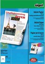 inkjetpapier Sigel A4 105grs pak a 75 vel voor dubbelzijdige afdruk hoogwit