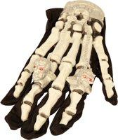 Licht gevende skelet handschoenen Halloween accessoire - Verkleedattribuut