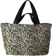 Mycha Ibiza – leopard tas - XL shopper - Strandtas - tas met rits - olijfgroen - Ibiza – 100% katoen