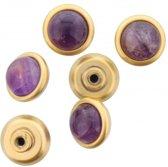 6 gouden schroefjes met paarse steentjes erop.