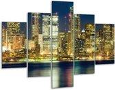 Glasschilderij Steden | Blauw, Geel, Wit | 100x70cm 5Luik | Foto print op Glas |  F000524