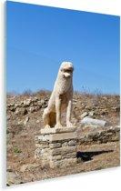 Standbeeld van De Leeuwen van Delos in Griekenland Plexiglas 80x120 cm - Foto print op Glas (Plexiglas wanddecoratie)