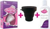 Divacup 1, herbruikbare menstruatiecup + DivaWash, mild reinigingsmiddel + sterilisator
