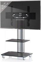 TV voet TV standaard Tosal draaibaar verrijdbaar zilver zwartglas