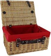 Rieten picknickmand met rode voering