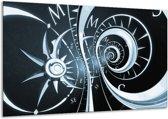 Schilderij | Canvas Schilderij Abstract | Zwart, Blauw | 120x70cm 1Luik | Foto print op Canvas