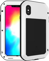 Metalen fullbody hoes voor Apple IPhone XS Max, Love Mei, metalen extreme protection case, zwart-wit