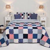 Clayre & Eef Bedsprei Blauw Sterren - Stars en Stripes - Lits-jumeaux (260x260)