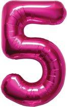 Magenta cijferballon cijfer 5 - 86 cm