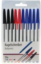 Balpennen set 10 stuks - zwart/ blauw en rood