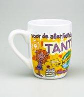 Verjaardag - Cartoon Mok - Voor de allerliefste Tante - Gevuld met een toffeemix - In cadeauverpakking met gekleurd krullint
