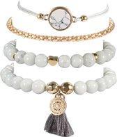Trendy set met 5 armbanden | goudkleurig | schildpad | liefde | wereldbol | Semyco®