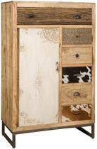 Vintage kast met laden en deur in hout metaal en koeienhuid 90x45x140