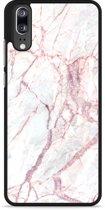 Huawei P20 Hardcase Hoesje White Pink Marble