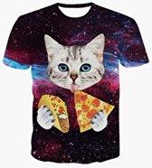 Pizza en taco kat shirt Maat M