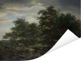 Bosgezicht - Schilderij van Jacob van Ruisdael Poster 160x120 cm - Foto print op Poster (wanddecoratie woonkamer / slaapkamer) XXL / Groot formaat!