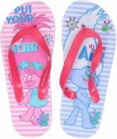 Trolls teenslippers roze/blauw voor meisjes 33/34 (7-10 jaar)