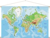 Wereldkaart op schoolplaat wanddecoratie 60x40 cm platte latten