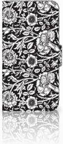 iPhone X | Xs Bookcase met ruimte voor pasjes Black Flowers