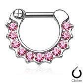Piercing clicker 11 steentjes roze ©LMPiercings