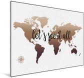 Wereldkaart zonder omlijningen een zwarte tekst Canvas 30x20 cm - klein - Foto print op Canvas schilderij (Wanddecoratie woonkamer / slaapkamer)